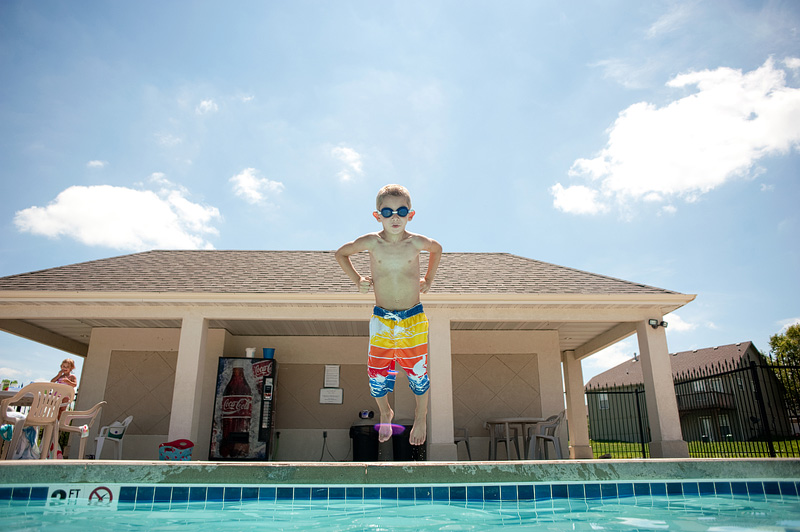 Max jumping in the pool.