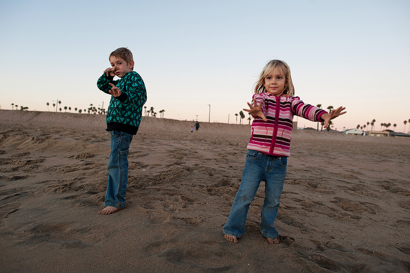 Kids playing at Seal Beach in California.