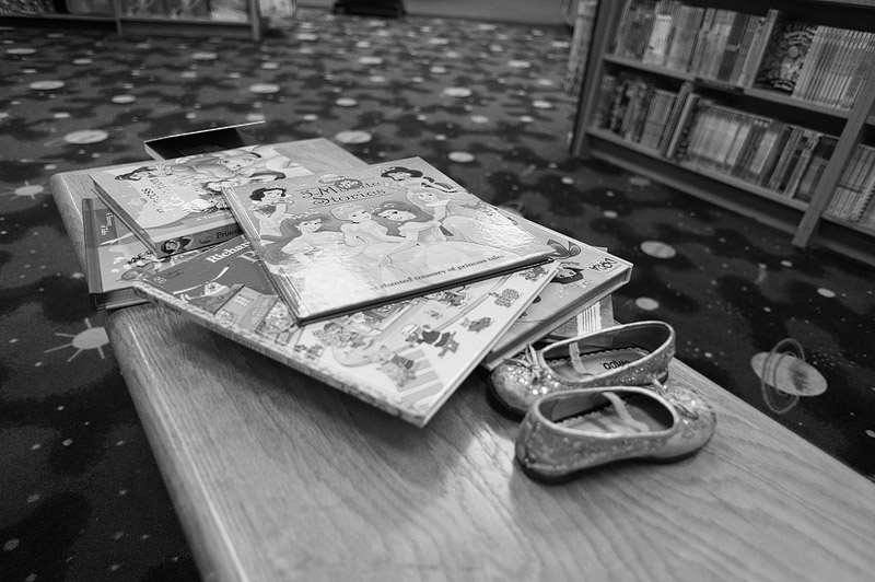 Shoes and books at Borders.