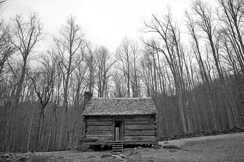 Cabin in the woods of the Great Smoky Mountains.