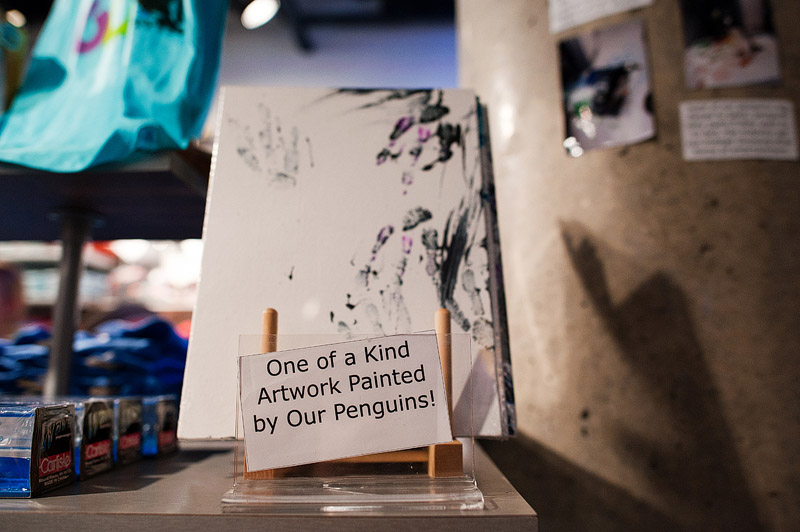 One of a kind artwork painted by penguins.