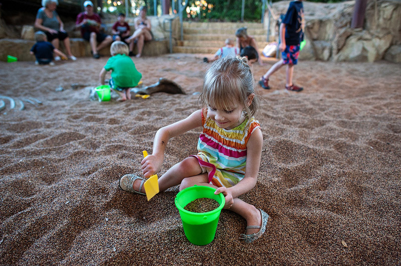 Girl playing in sand at Disney's Animal Kingdom.