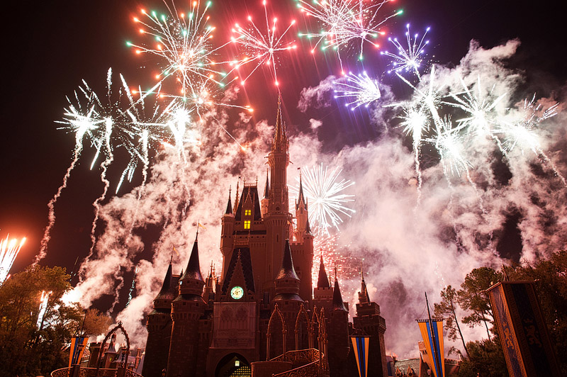 Crazy fireworks over Cinderella's castle.