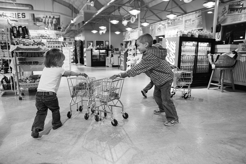 Shopping cart fights at Eckert's Country Store.