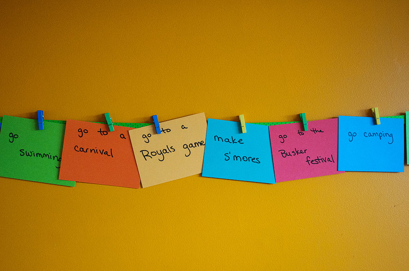 Colored index cards on the wall