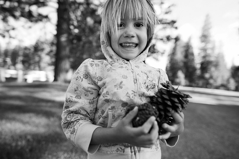 Little girl with pine cones.