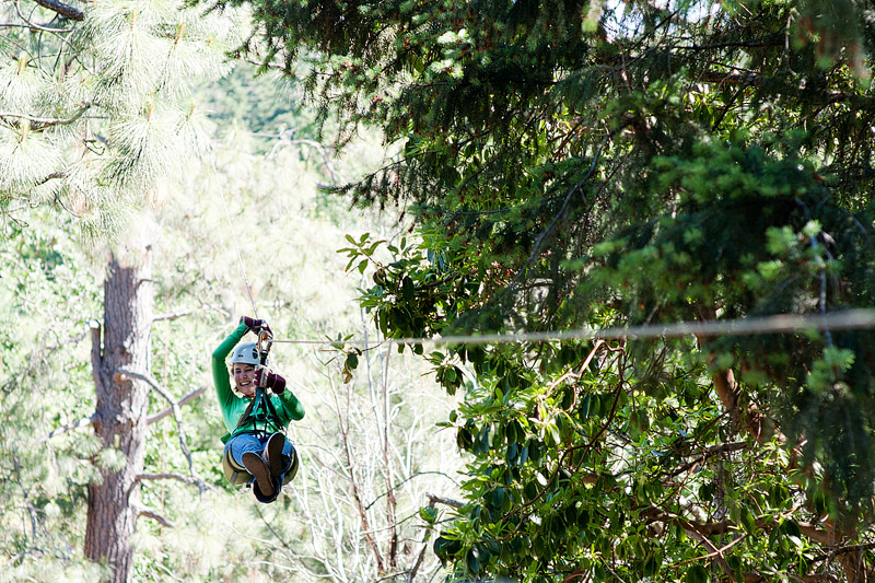 Woman on the zip line.