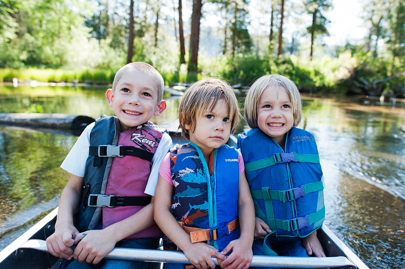Kids canoeing.