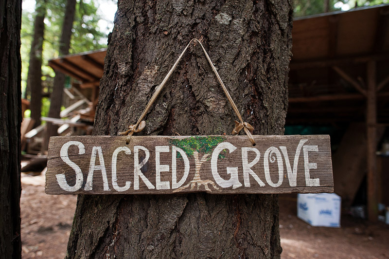 Sacred Grove sign at Out N About treehouses in Oregon.