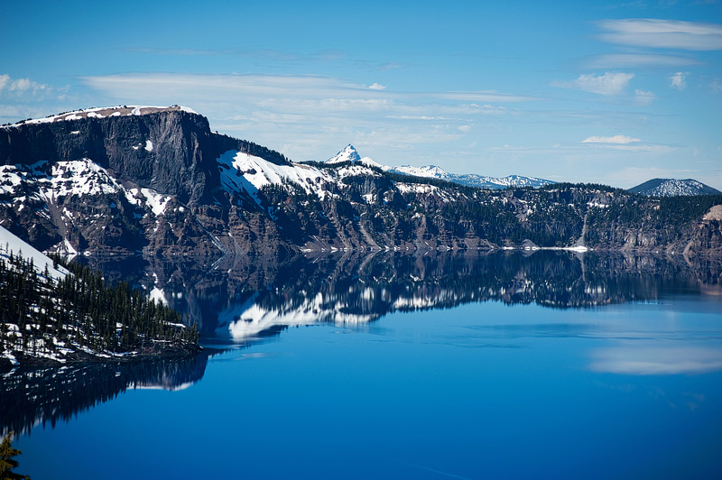 Sapphire blue water at Crater Lake.