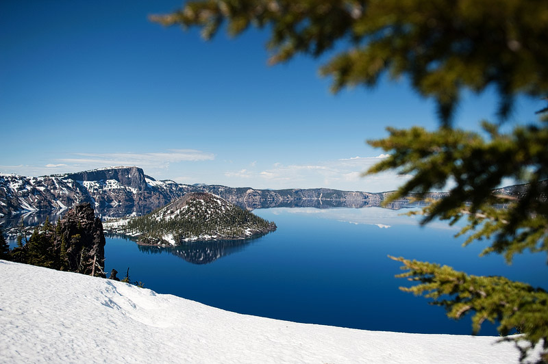 Awesome shot of Crater Lake with snow.