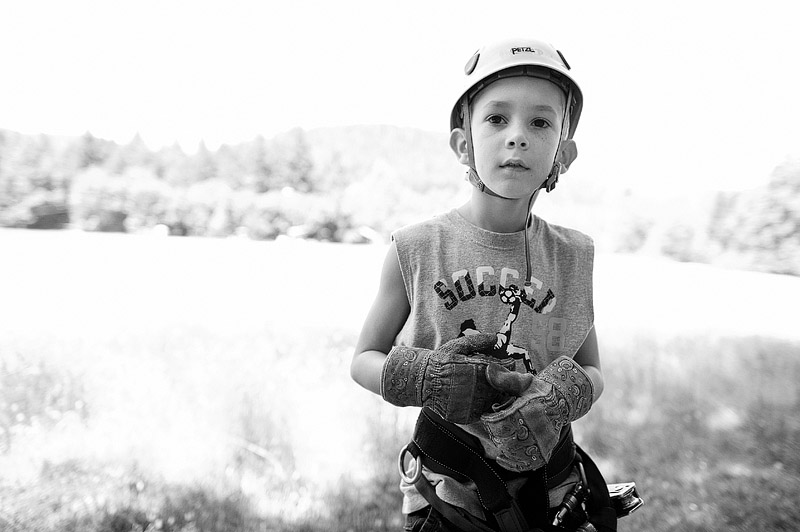 Portrait of a boy ready to zip line.