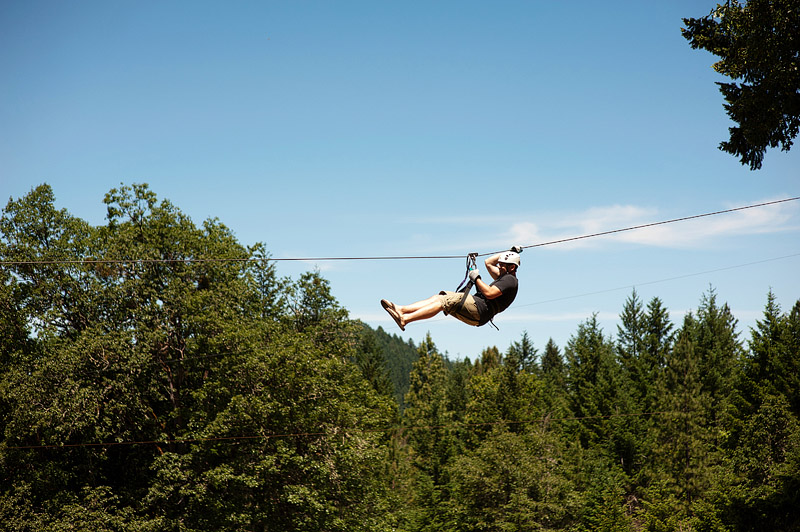 Man zip lining at Out N About treehouses.