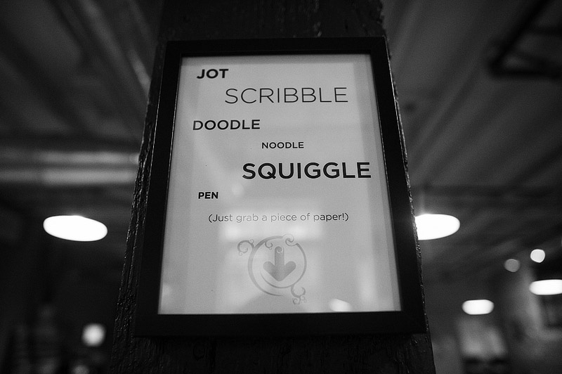 Jot scribble doodle squiggle sign at the Canvas in Portland, Oregon.