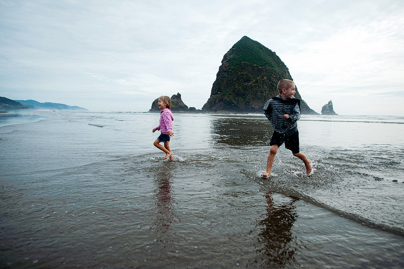 Kids having a blast on Cannon Beach.