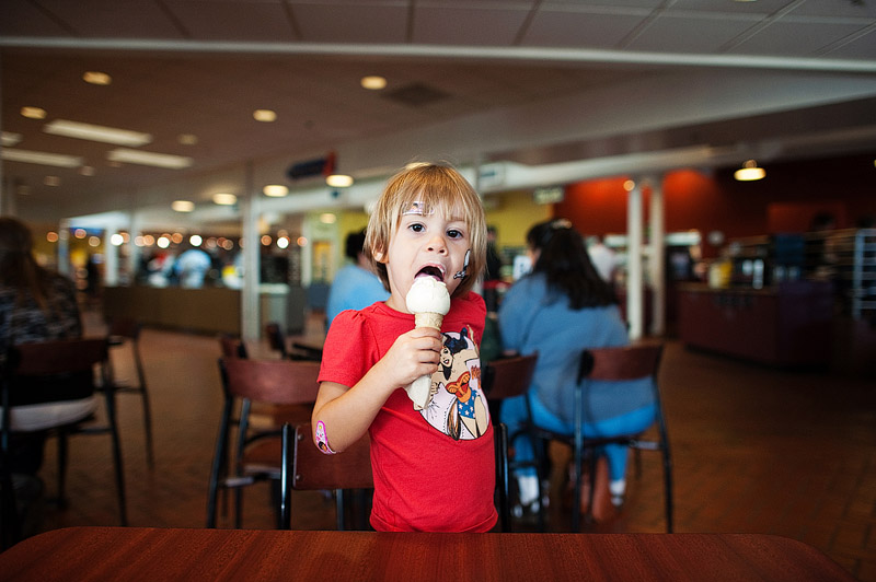 toddler eating tillamook ice cream in oregon