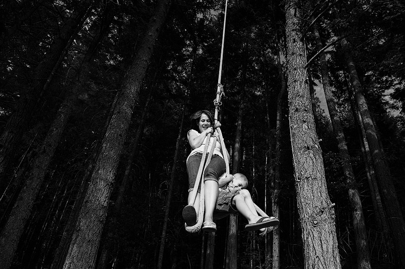 Mom and son on the Tarzan rope swing.