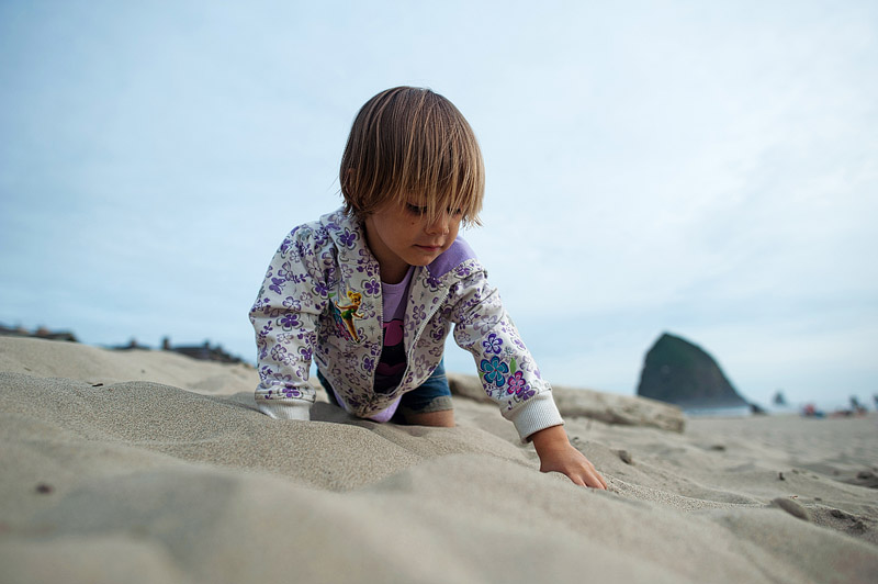 Toddler crawling on the beach in the sand.