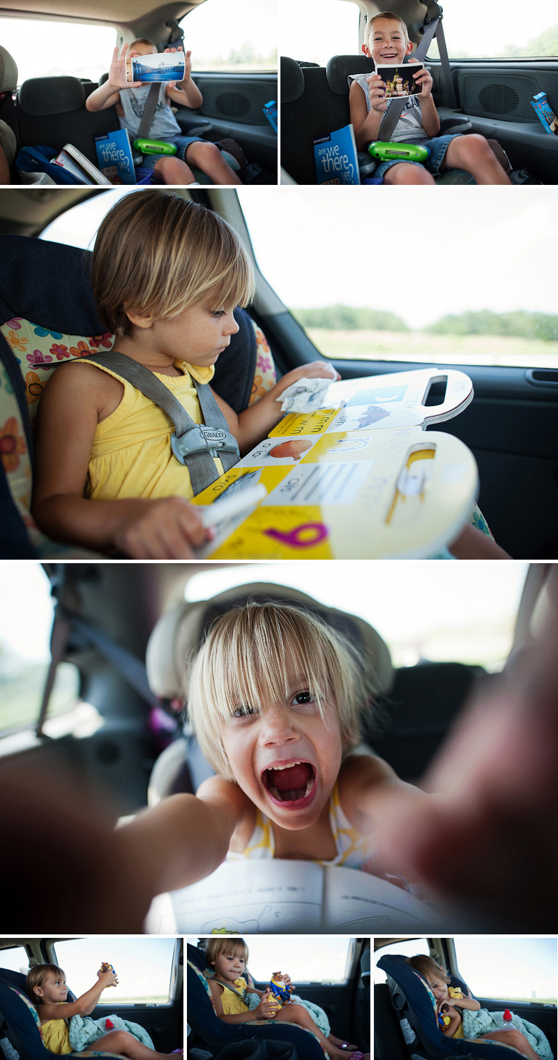 Kids playing in the car on a family road trip