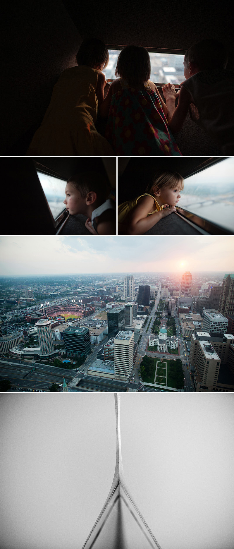 Kids looking out at the missouri river and cardinals game from the top of the Arch.