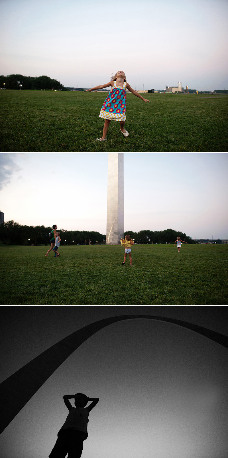 Fun pictures of kids at the gateway arch.