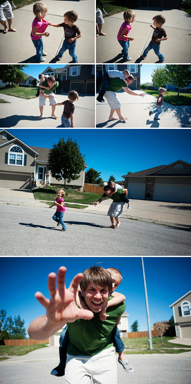 parents playing tag with kids