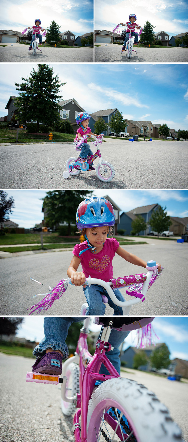 Little girl on her bicycle.