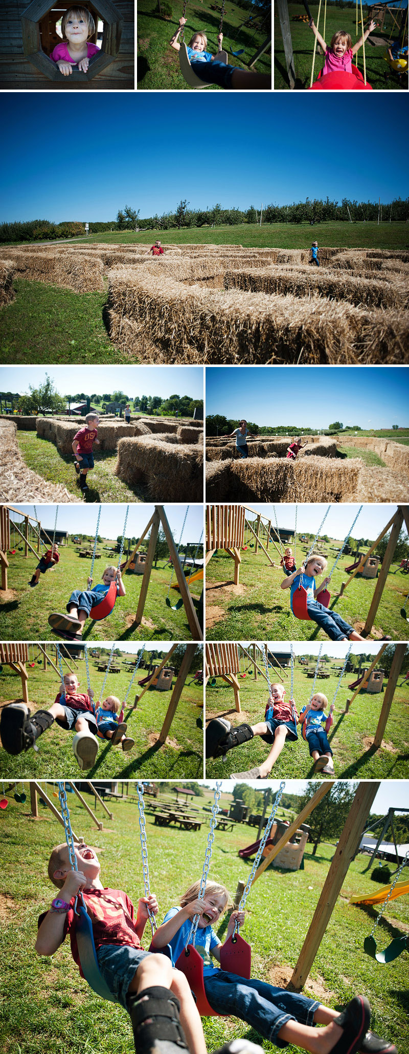 kids playing in hay bale maze