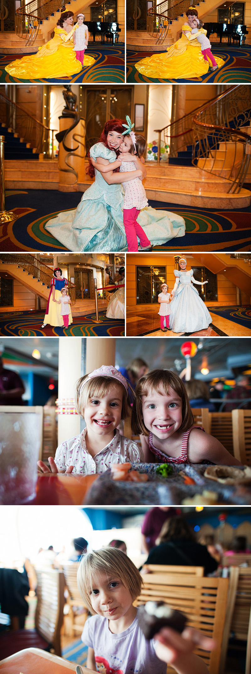 girl meeting her favorite princesses on a disney cruise