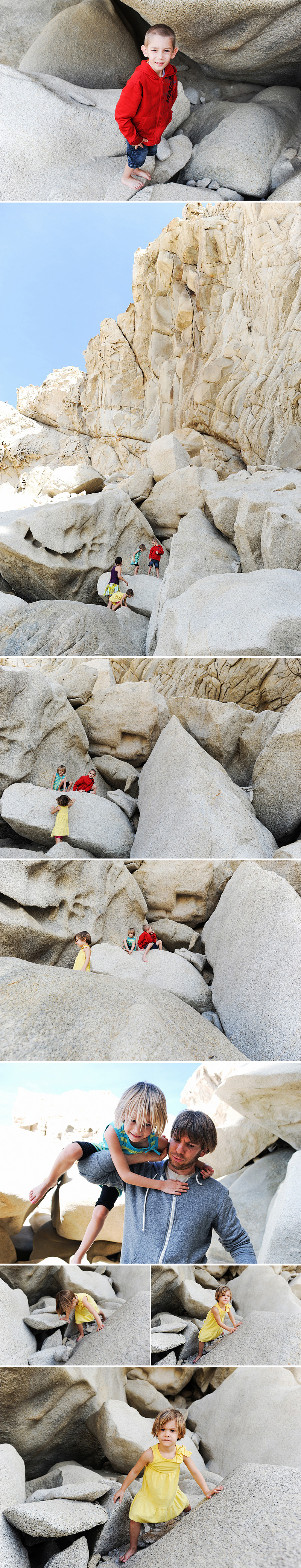 climbing on rocks at lovers beach in cabo
