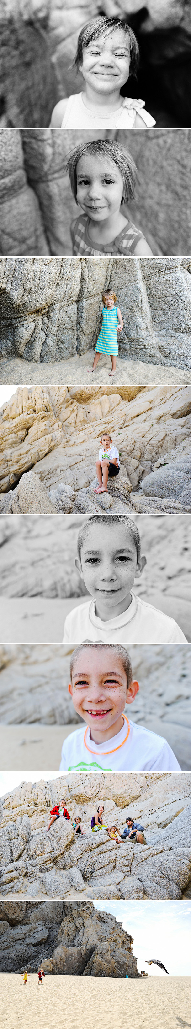 kids portraits on lovers beach in cabo
