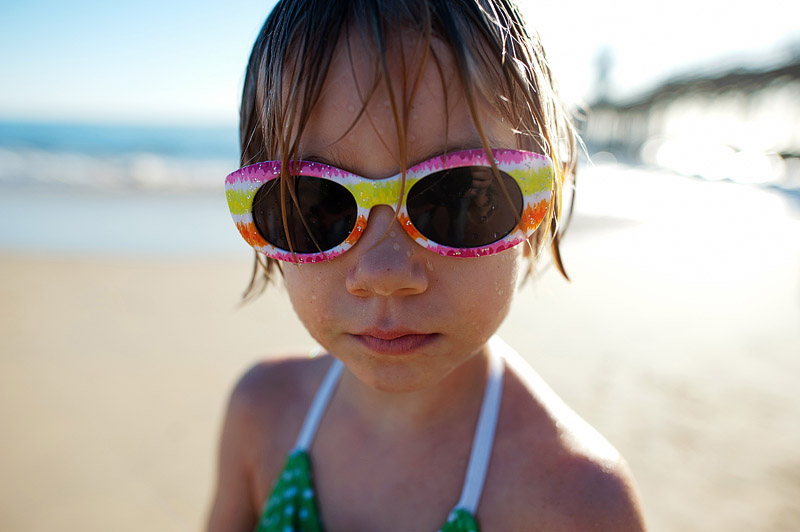Portrait of my daughter on Seal Beach in California.