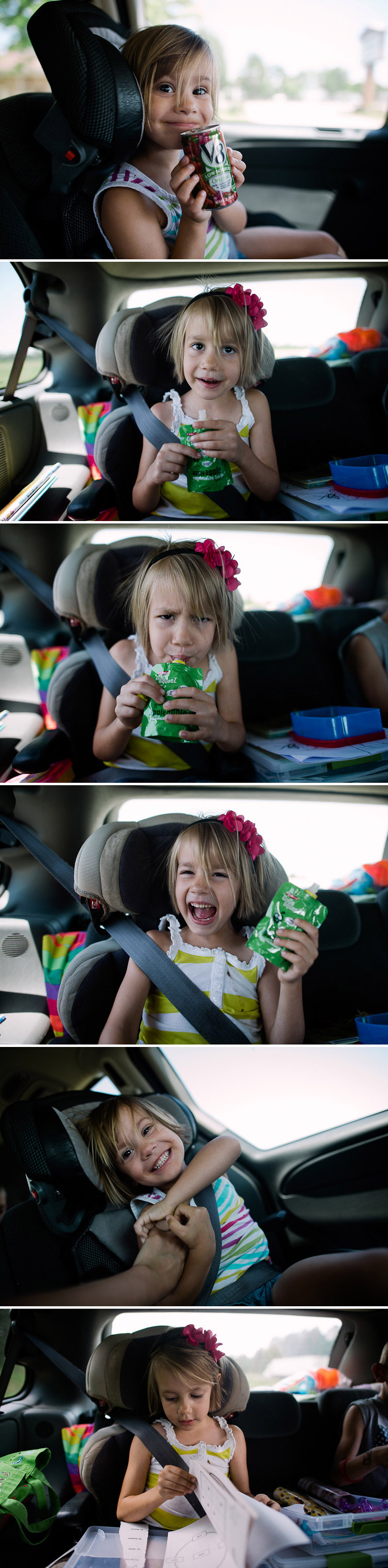 cute girls with food on road trip