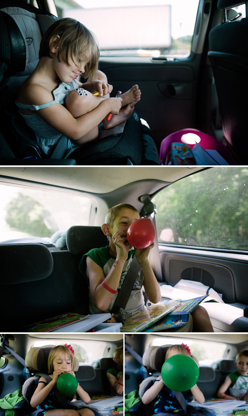 googly eyes and balloons in the car road trip to destin florida