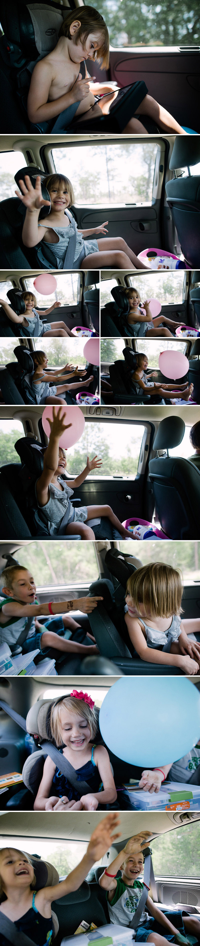 kids with balloons in the car