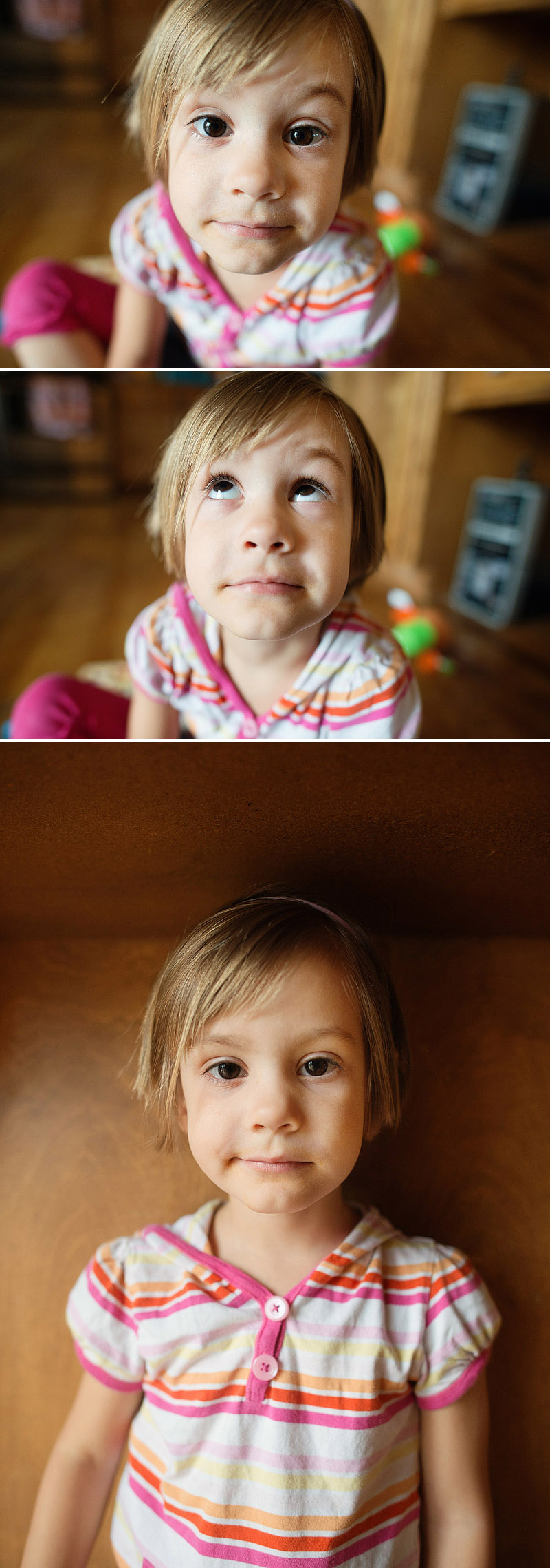 cute preschooler making faces