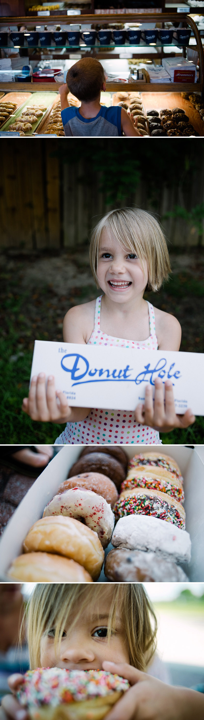 Family donut time with donuts from the Donut Hole in Destin Florida.