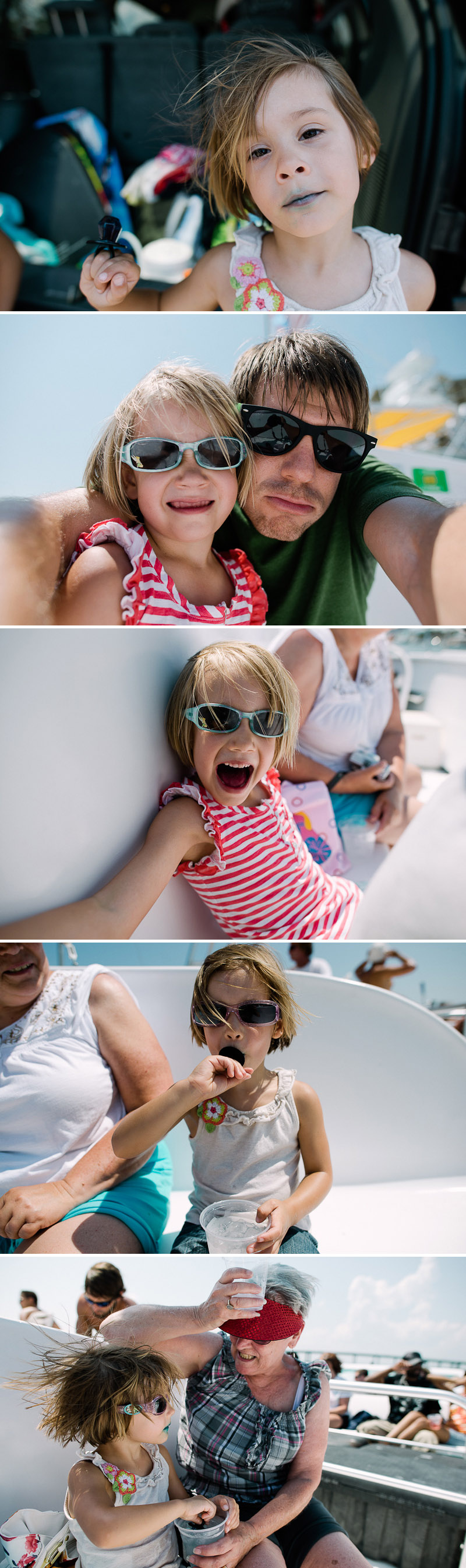 Kids having fun on a dolphin cruise in Destin, Florida.