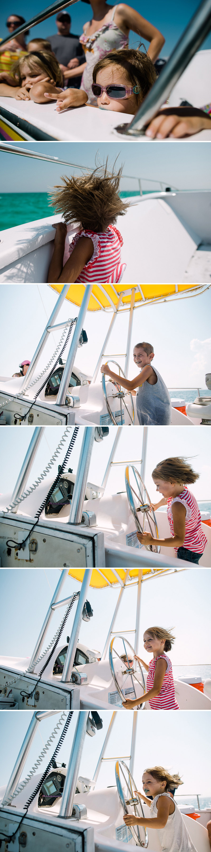 Kids driving a boat on a Dolphin cruise in Florida.