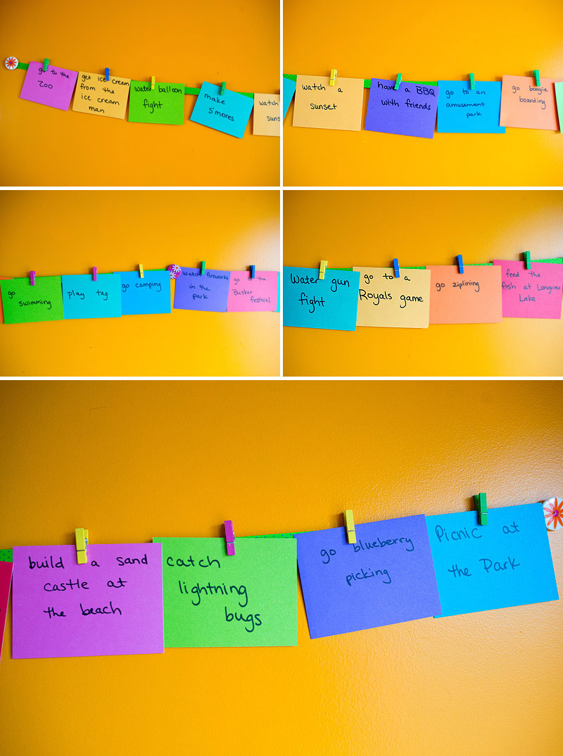 summer bucket list challenge bright colored index cards