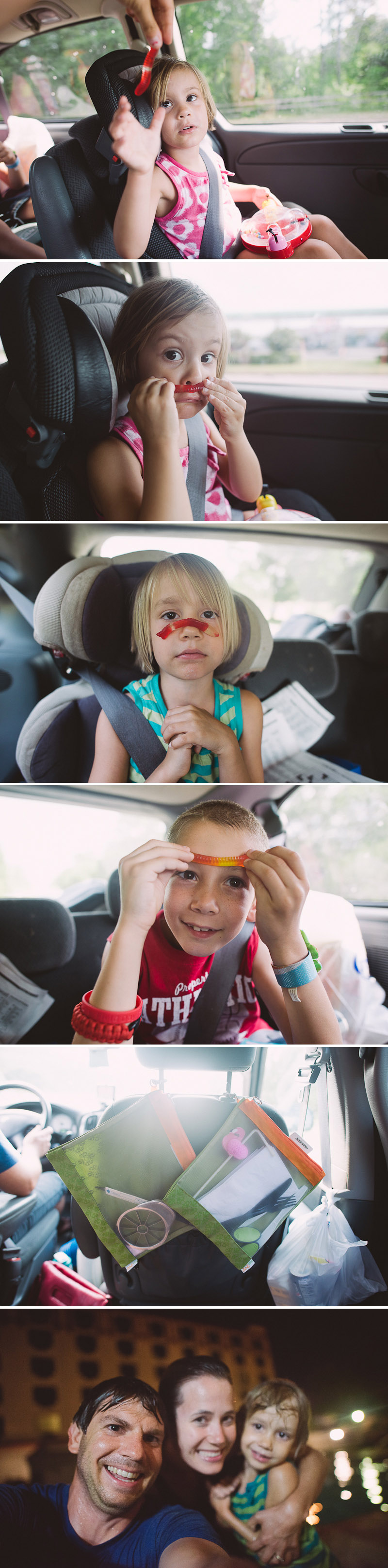 Kids having fun in the car.