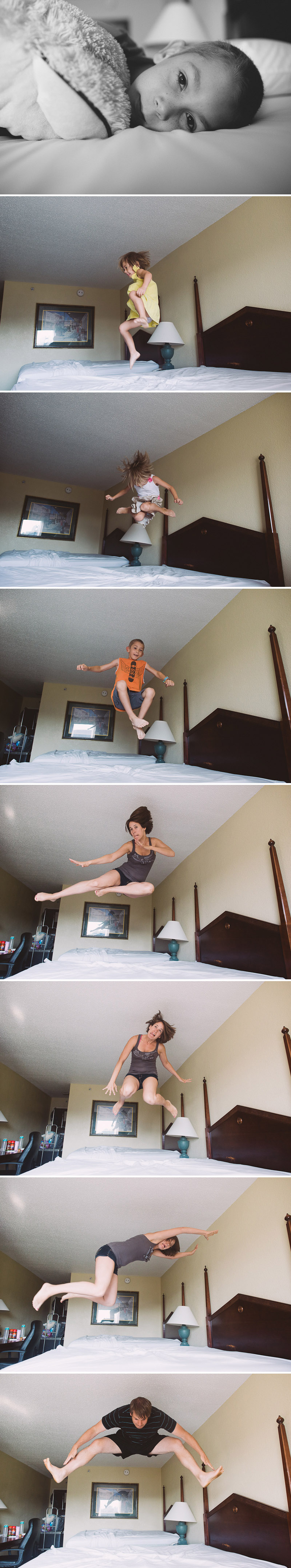 Family hotel bed jumping contest.
