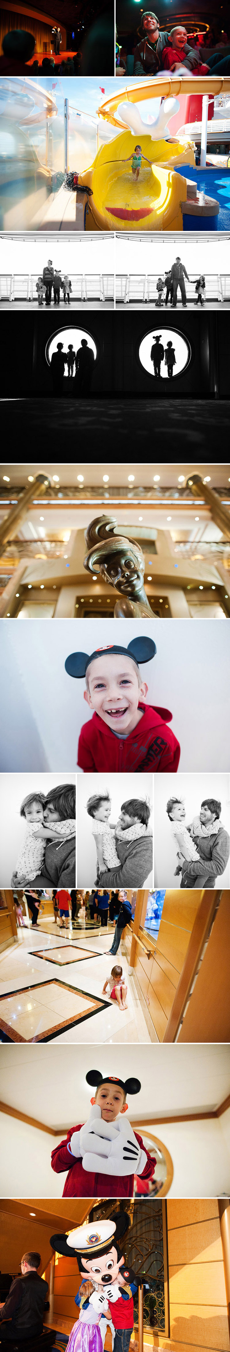 Family portraits on the Disney Wonder cruise ship.