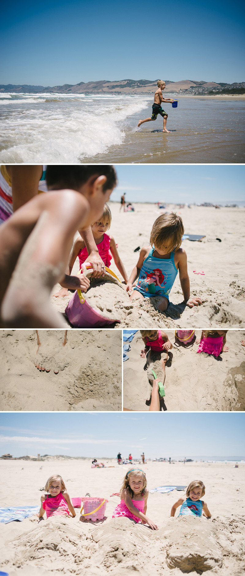 kids playing in the sand at grover beach california