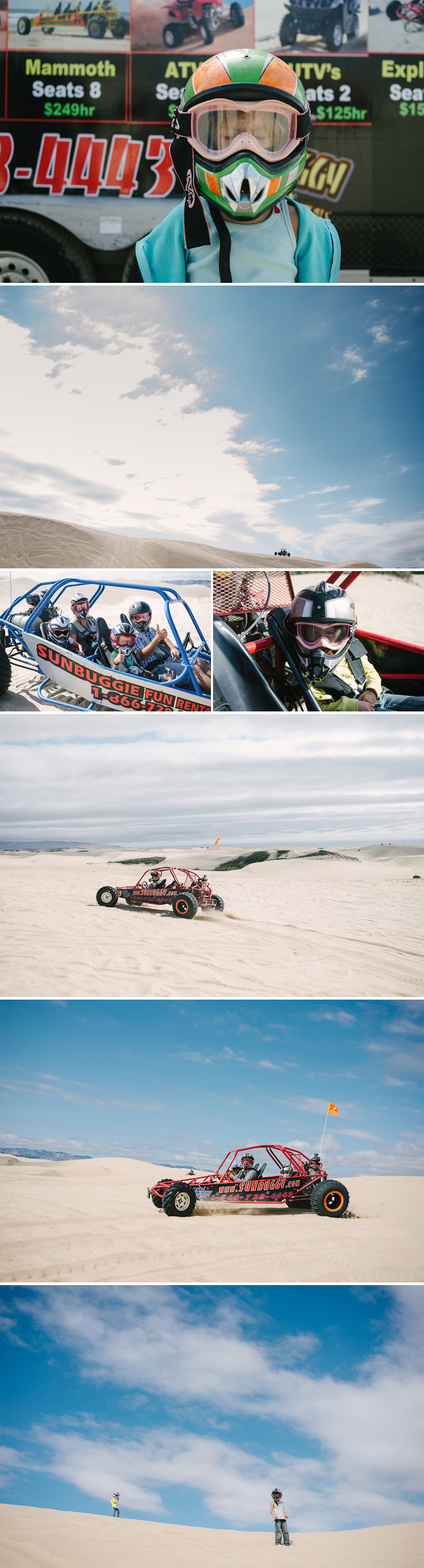 family riding dune buggies at pismo beach