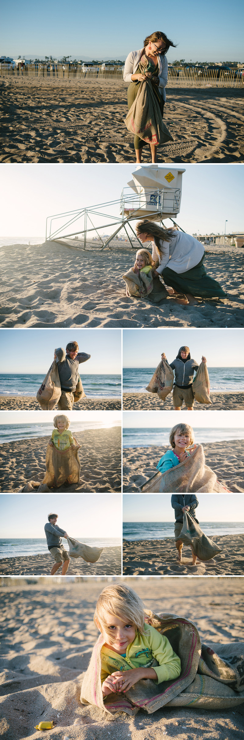 fun with potato sacks at the beach