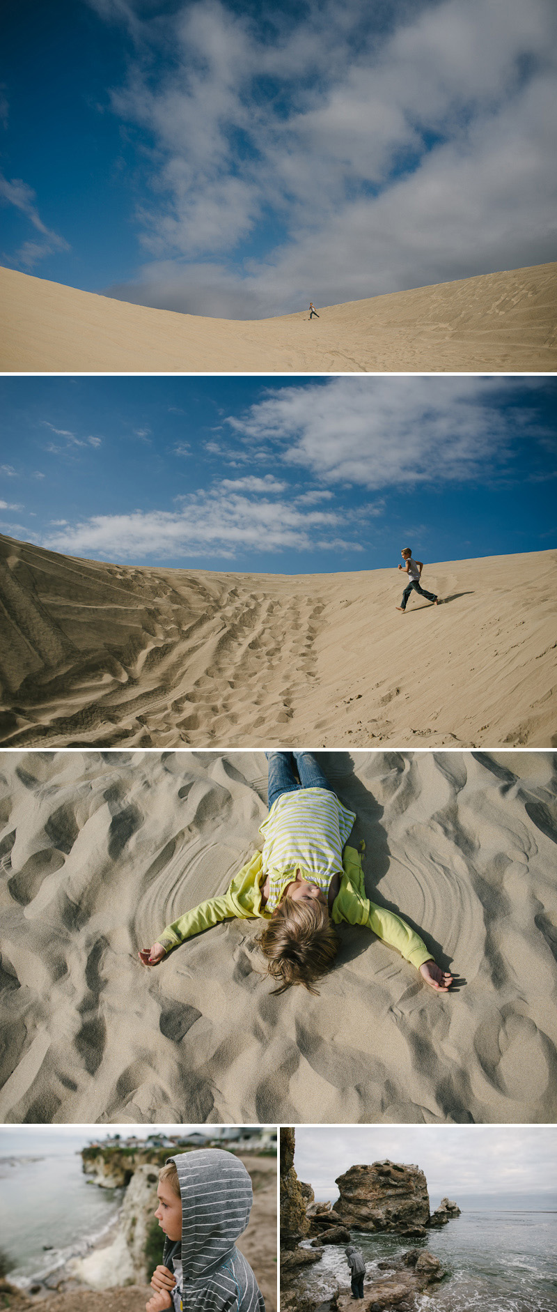 kids playing on the dunes at pismo beach california