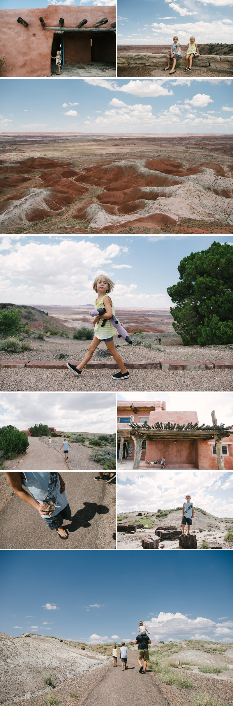 family visiting the painted desert in arizona