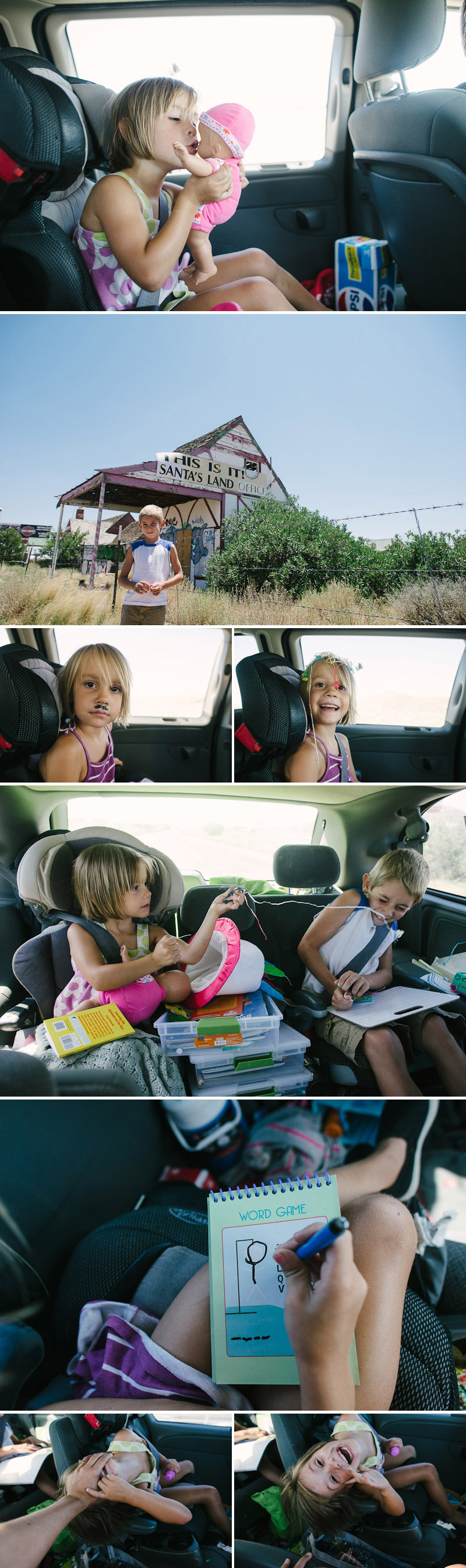 road trip with kids playing in the car