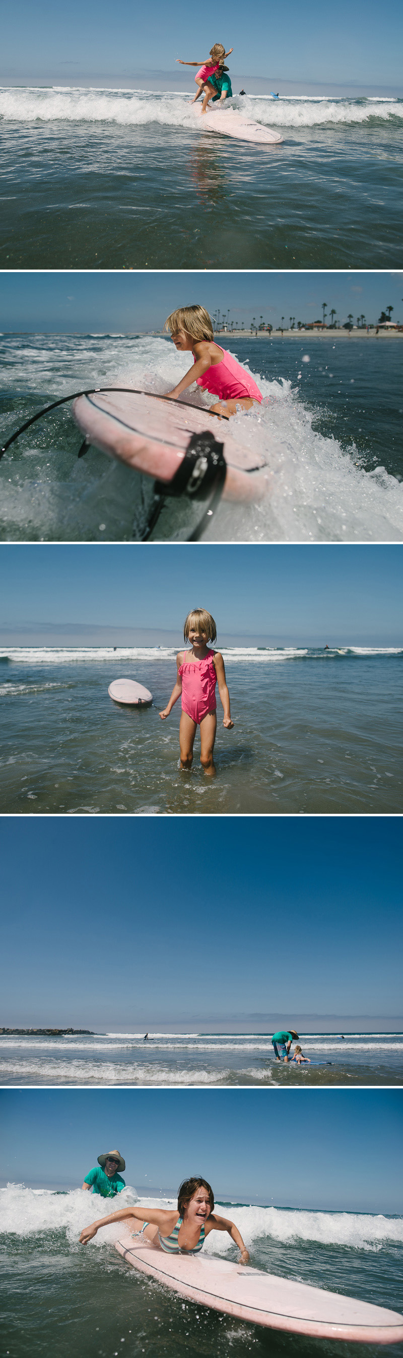 girl and her mom learning to surf